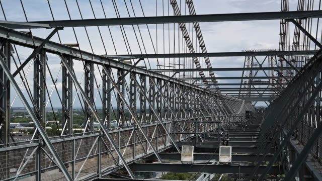 a general view from the top of the newport transporter bridge on june 9 2019 in newport united kingdom - general view stock videos and b-roll footage