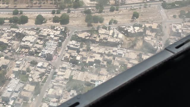 general view from the window of a helicopter flying over baghdad to the international zone on may 28 in baghdad, iraq. coalition forces based in... - baghdad stock videos & royalty-free footage