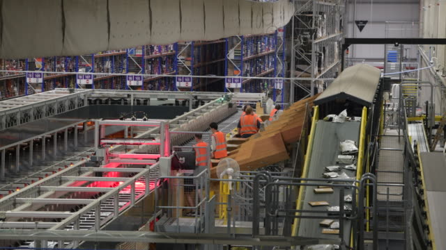 general view inside the amazon fulfillment centre as workers gear up for black friday and christmas on november 13, 2018 in swansea, wales. the... - warehouse stock videos & royalty-free footage