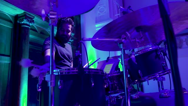 general view - live band - drums at 'turn up london' at cadogan hall) during 'turn up london' at cadogan hall on june 29, 2020 in london,... - drummer stock videos & royalty-free footage