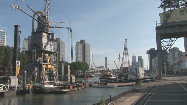 general view near docks. rotterdam. netherlands - schiffsfracht stock-videos und b-roll-filmmaterial