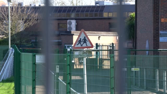 march 23: general view of a closed school as the uk government closes schools and tells the public to stay at home and avoid all non essential travel... - closed stock videos & royalty-free footage