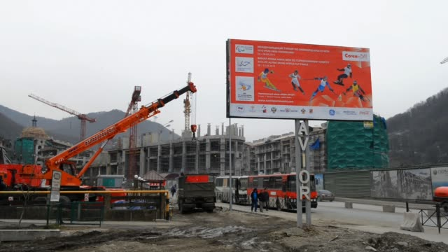 general view of a construction site at sochi during the e on ibu biathlon world cup at sochi russia e on ibu biathlon world cup sochi at biathlon ski... - biathlon stock videos and b-roll footage