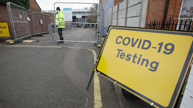 general view of a covid testing centre in stamford brook on february 15, 2021 in london, united kingdom. health authorities have found more than 100... - medical examination stock videos & royalty-free footage