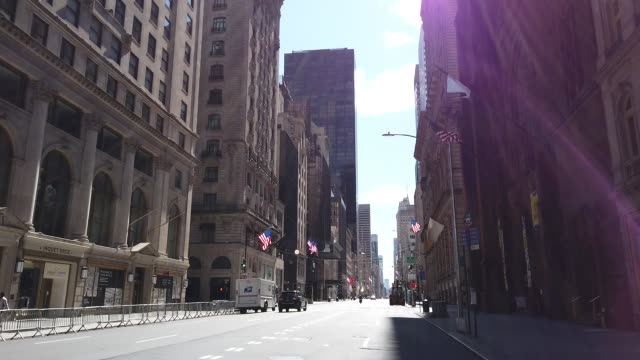 general view of a near empty fifth avenue in the early afternoon hours on april 02, 2020 in new york city. currently, over 92,000 people in new york... - general view stock videos & royalty-free footage
