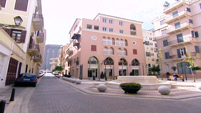 general view of a plaza in saifi village a new urbaniststyle neighborhood in downtown beirut rebuilt after the civil war by solidere - cobblestone stock videos & royalty-free footage