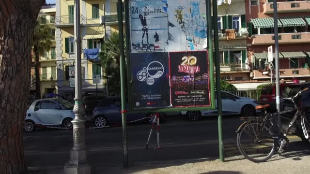 vídeos de stock e filmes b-roll de a general view of a poster on february 8 2019 in sanremo italy - vista geral