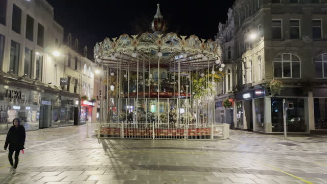 "general view of a quiet queen street in cardiff city centre on the first saturday night of the ""firebreak"" which is aimed at reducing the number of... - roundabout stock videos & royalty-free footage"