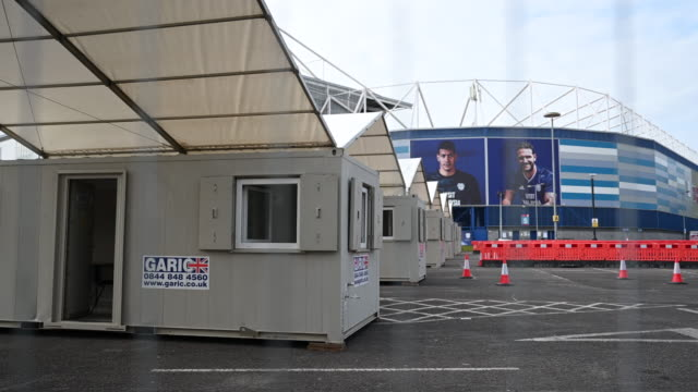 general view of a temporary coronavirus testing area set up at the cardiff city stadium on march 3 in cardiff, wales. the coronavirus pandemic has... - football stock videos & royalty-free footage