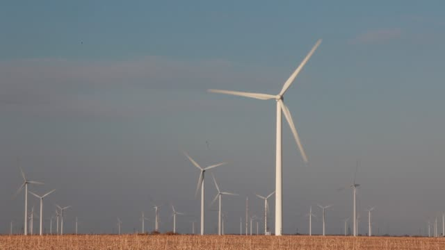 general view of a wind farm plant on march 7 baicheng, china. china is striving to improve the rate of clean energy due to serious environmental... - turbine stock videos & royalty-free footage