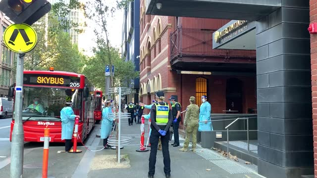 general view of activity as hotel quarantine workers, victoria police and australian army are seen outside the intercontinental hotel on april 08,... - intercontinental hotels group stock videos & royalty-free footage