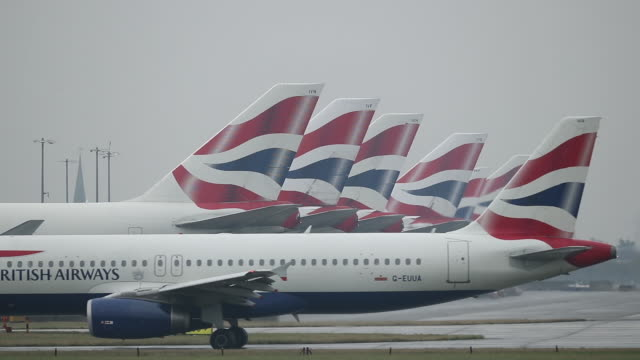 general view of airplanes taxiing at heathrow airport on october 25, 2016 in london, england. no audio - air vehicle stock videos & royalty-free footage