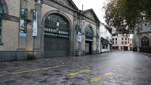 general view of an empty area near cardiff market on october 27, 2020 in cardiff, wales. wales entered a national lockdown on friday evening which... - high street stock videos & royalty-free footage
