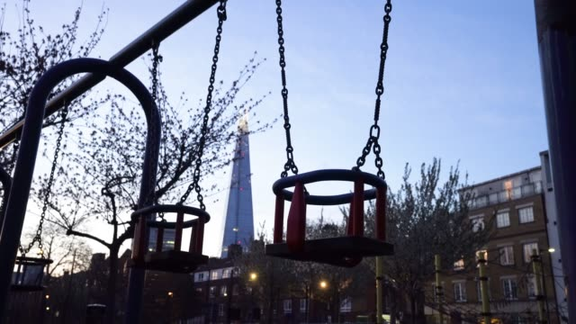 march 26: general view of an empty playground as british prime minister, boris johnson, announced strict lockdown measures urging people to stay at... - playground stock videos & royalty-free footage