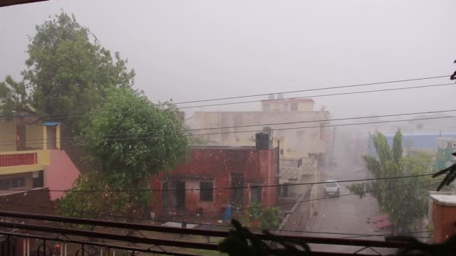 a general view of an heavy rainfall in ajmer india on may 30 2020 - south asia stock videos & royalty-free footage