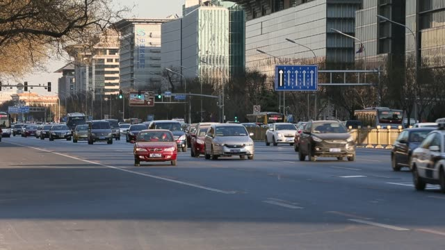 a general view of beijing traffic in second ring road - bearbeitetes segment stock-videos und b-roll-filmmaterial