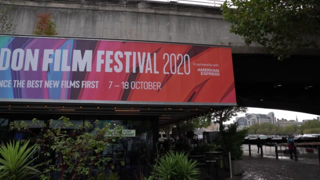 general view of bfi london film festival signage at the bfi southbank on october 6 2020 in london united kingdom - bfi southbank stock videos & royalty-free footage