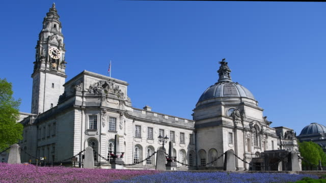 A general view of Cardiff City Hall in Cardiff Wales UK on a summers day with a blue sky