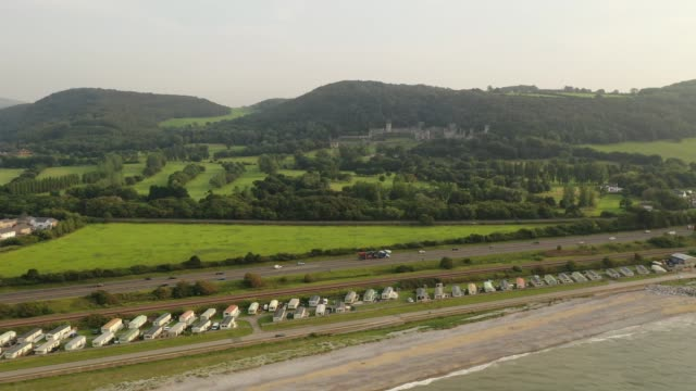 """general view of castell gwyrch on august 14, 2020 in abergele, wales. gwyrch castle rumoured to be the set of this year's itv reality tv show """"i'm a... - old ruin stock videos & royalty-free footage"""