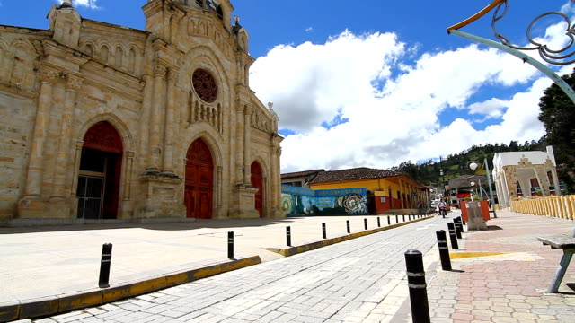 general view of church at indigenous town of saraguro. - loja stock videos and b-roll footage