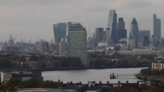 general view of city of london on october 27 2016 in london england - 金融と経済点の映像素材/bロール
