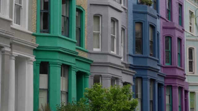 general view of colourful houses near portobello road on june 3 2020 in london england the british government further relaxed covid19 quarantine... - multi coloured stock videos & royalty-free footage