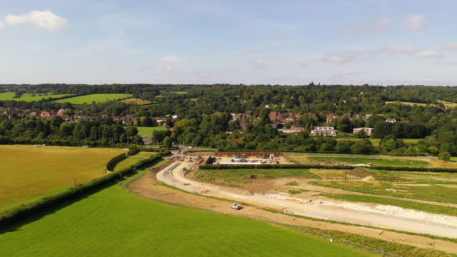 general view of construction around what will be a service road for hs2 build traffic, along the proposed hs2 route on august 22, 2019 in great... - high speed train stock videos & royalty-free footage