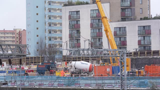 general view of construction work at the hs2 construction site at mornington crescent on february 8, 2021 in london, england. the high-speed rail... - passenger train stock videos & royalty-free footage