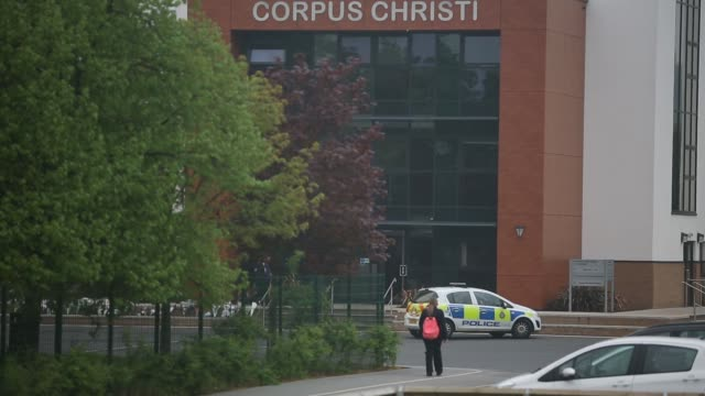 ws a general view of corpus christi catholic college where police are continuing their investigations in neville road on april 30 2014 in leeds... - ウェストヨークシャー点の映像素材/bロール