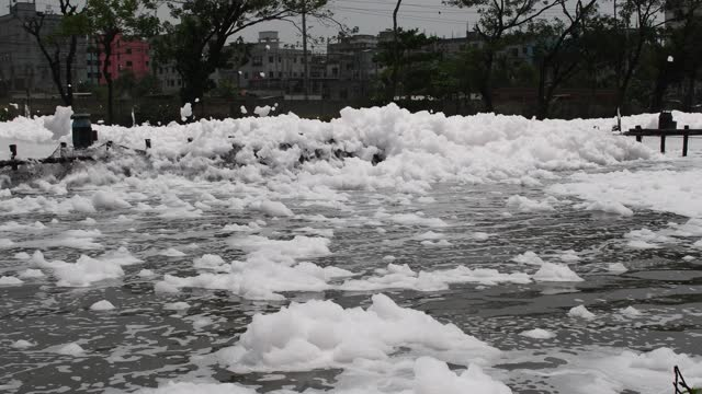 general view of dirty foam at a water treatment plant on may 04 in dhaka, bangladesh. - soap sud stock videos & royalty-free footage
