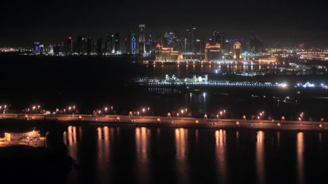 general view of doha skyline at night from the ritz carlton hotel general views of doha on march 25 2013 in doha qatar - doha stock videos & royalty-free footage