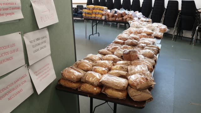 general view of donated bread at the albrighton community centre which partners with environmental charity hubbub to create the community fridge... - bread stock videos & royalty-free footage