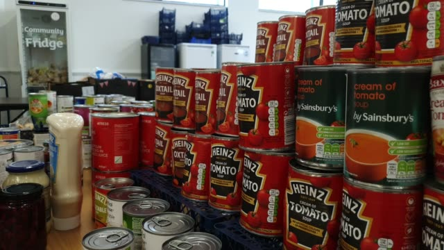 general view of donated tins of soup at the albrighton community centre which partners with environmental charity hubbub to create the community... - brian dayle coronavirus stock videos & royalty-free footage