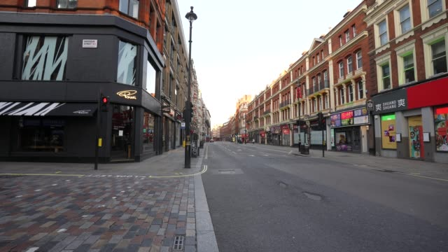 march 23: general view of empty streets in central london as the uk government tells the public to stay at home and avoid all non essential travel in... - city stock videos & royalty-free footage
