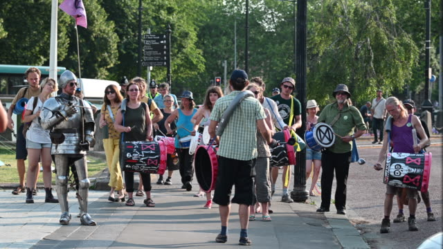 a general view of extinction rebellion protestors protesting outside city hall as the environmental protest group ends day two of a series of... - social movement stock videos and b-roll footage