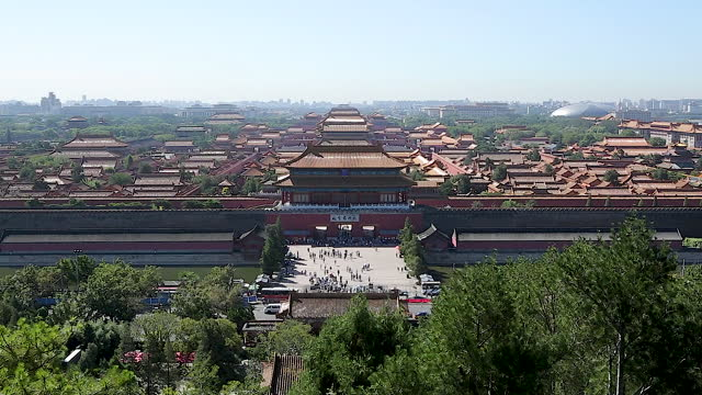 general view of forbidden city (imperial palace complex) / beijing, china - forbidden city stock videos & royalty-free footage