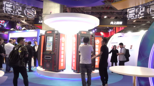 general view of global gaming expo asia with gaming machines on wednesday, may 16, 2018. - macao stock videos & royalty-free footage