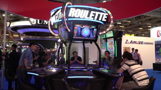 vídeos y material grabado en eventos de stock de a general view of global gaming expo asia with gaming machines on wednesday may 16 2018 - vista general