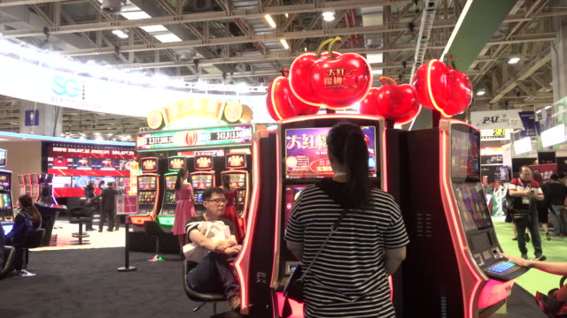 a general view of global gaming expo asia with gaming machines on wednesday may 16 2018 - jackpot stock videos & royalty-free footage