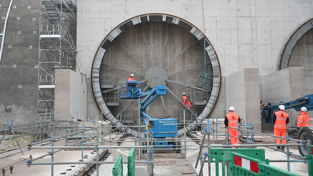 general view of hs2 chiltern tunnel entrance point as construction workers continue work on the entrance to the hs2 chiltern tunnels on december 07... - construction industry stock videos & royalty-free footage