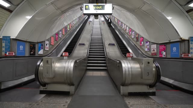 general view of hyde park corner station escalator ahead of london underground's closure of 40 stations around the capital as the public follow... - tube stock videos & royalty-free footage