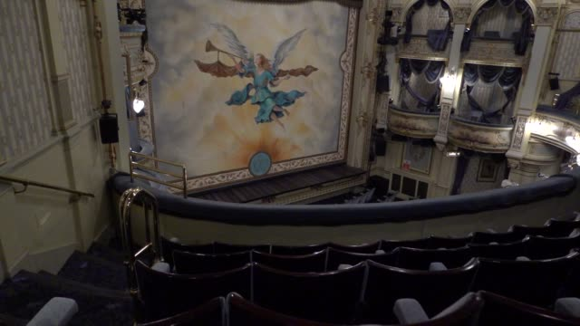 general view of inside the wyndhams theatre on june 1, 2020 in london, england. the wyndhams theatre is the current home of 'leopoldstadt' directed... - ウェストエンド点の映像素材/bロール