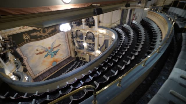 general view of inside the wyndhams theatre on june 1, 2020 in london, england. the wyndhams theatre is the current home of 'leopoldstadt' directed... - spettacolo teatrale video stock e b–roll