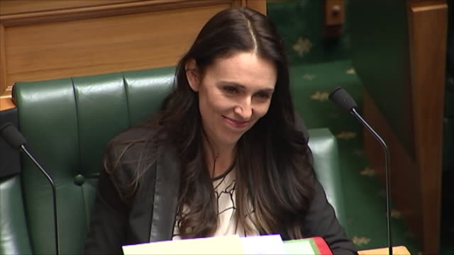 general view of jacinda ardern in parliament on her first day as leader of the labour party - palazzo del parlamento video stock e b–roll