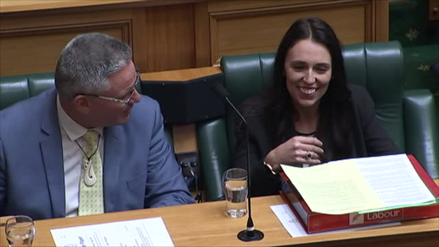 general view of jacinda ardern in parliament on her first day as leader of the labour party - general view stock videos & royalty-free footage