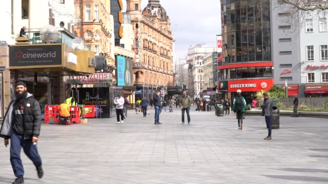 general view of leicester square as the public follow government advice to slow down the spread of the coronavirus with 'social distancing' during... - leicester square stock videos & royalty-free footage