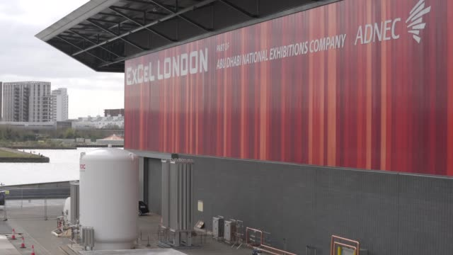 general view of liquid oxygen tanks as preparations are made for nhs nightingale under construction at excel london as british prime minister boris... - plain stock videos & royalty-free footage