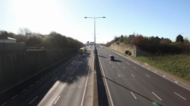 general view of m25 during rush hour as the public follow government advice to slow down the spread of the coronavirus with 'social distancing'... - m25 video stock e b–roll