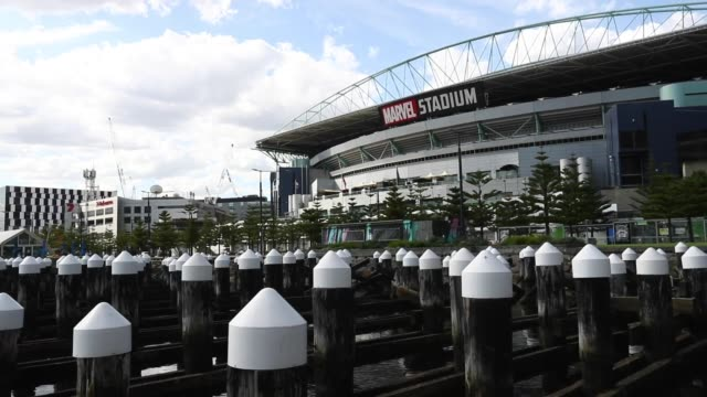 general view of marvel stadium as it sits idle after the afl season was suspended, on march 27, 2020 in melbourne, australia. due to the covid 19... - general view stock videos & royalty-free footage