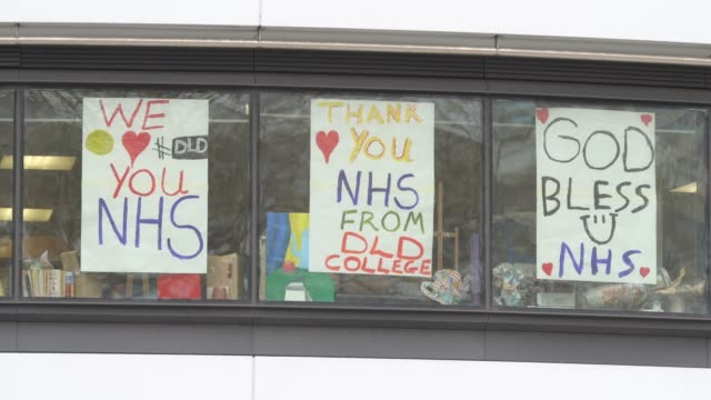 general view of messages of support to nhs workers in the window of a college on march 31 2020 in london england like many other countries around the... - message stock videos & royalty-free footage